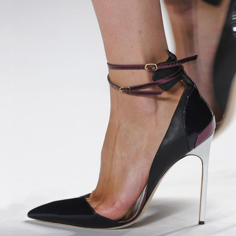Black Stilettos High Thin <font><b>Heels</b></font> Pumps Ankle Buckle Strap Pointed Toe Woman Large <font><b>Size</b></font> 11 <font><b>15</b></font> Ladies Fashion Mature Shoes Shofoo image