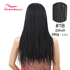 Image 2 - Golden Beauty 22inch Box Braid Wig Long Black Synthetic Hair Wig Braided Wigs With Breathable Cap