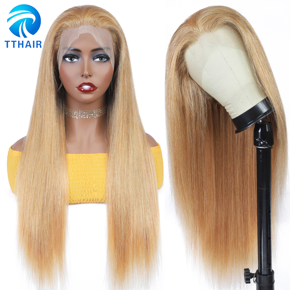 TTHAIR Ombre Human Hair Wig Straight Lace Frontal Wig Honey Blonde Lace Front Wigs Transparent Lace Wigs Brazilian Remy 28 Inch