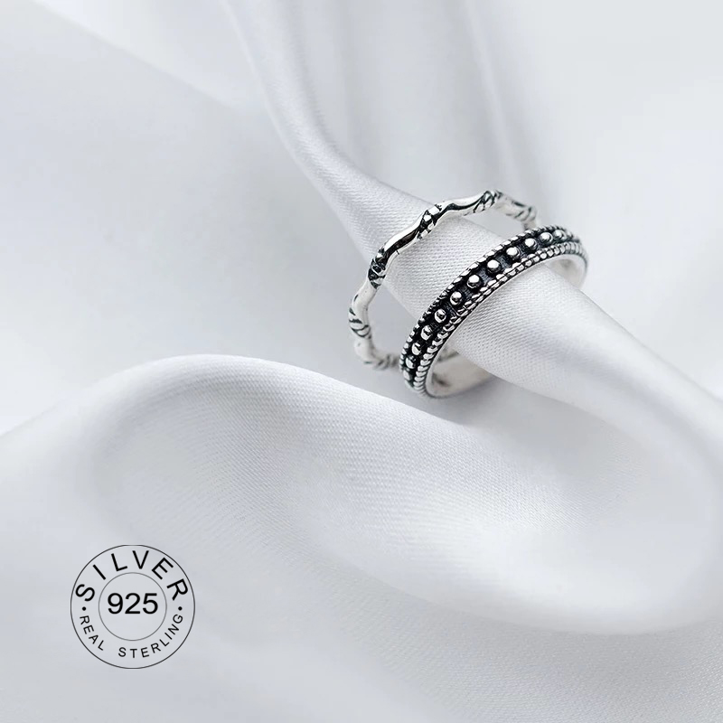 Vintage Weaving Twist Design Adjustable Ring Authentic 925 Sterling Silver Fine Jewelry For Women Party Accessories Gift
