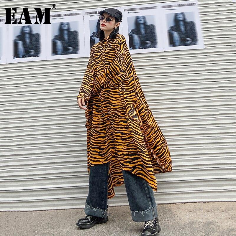 [EAM] Women Pattern Asymmetrical Big Size Long Blouse New Lapel Long Sleeve Loose Fit Shirt Fashion Spring Autumn 2020 1R104