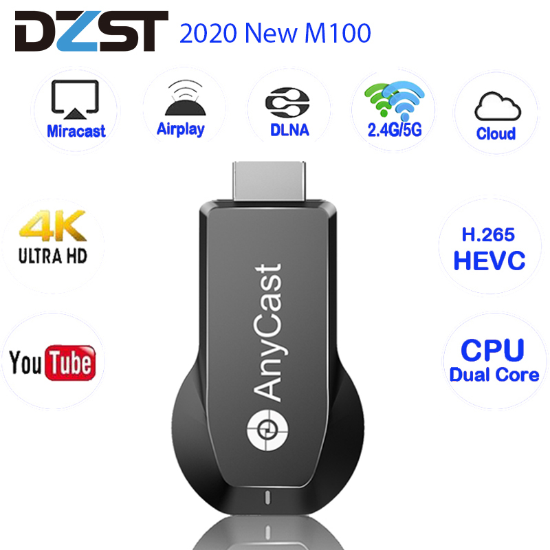 Anycast M100 2020 WiFi Display Dongle 2.4G 5G HDMI 4K Ultra HD VS AnyCast M2 Plus Tv Stick for IOS Android Smart Phone Tablet