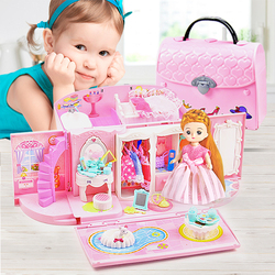 Dropshipping  mini Educational girls toys Diy handbag Doll House Miniature Model hand bag kids kitchen For Kids Girls Gift Toy