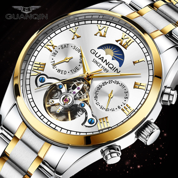 GUANQIN DESIGN Automatic Watch Men's Fashion Tourbillon Stainless Steel Waterproof Wristwatch Luxury Business Mechanical Watches