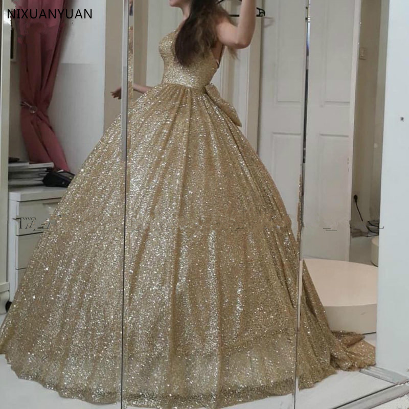 Gold Glitter Sequined Quinceanera Dresses Plus Size Sweet Ball Gown Prom Dress Sweetheart Corset Puffy Vestidos De 15