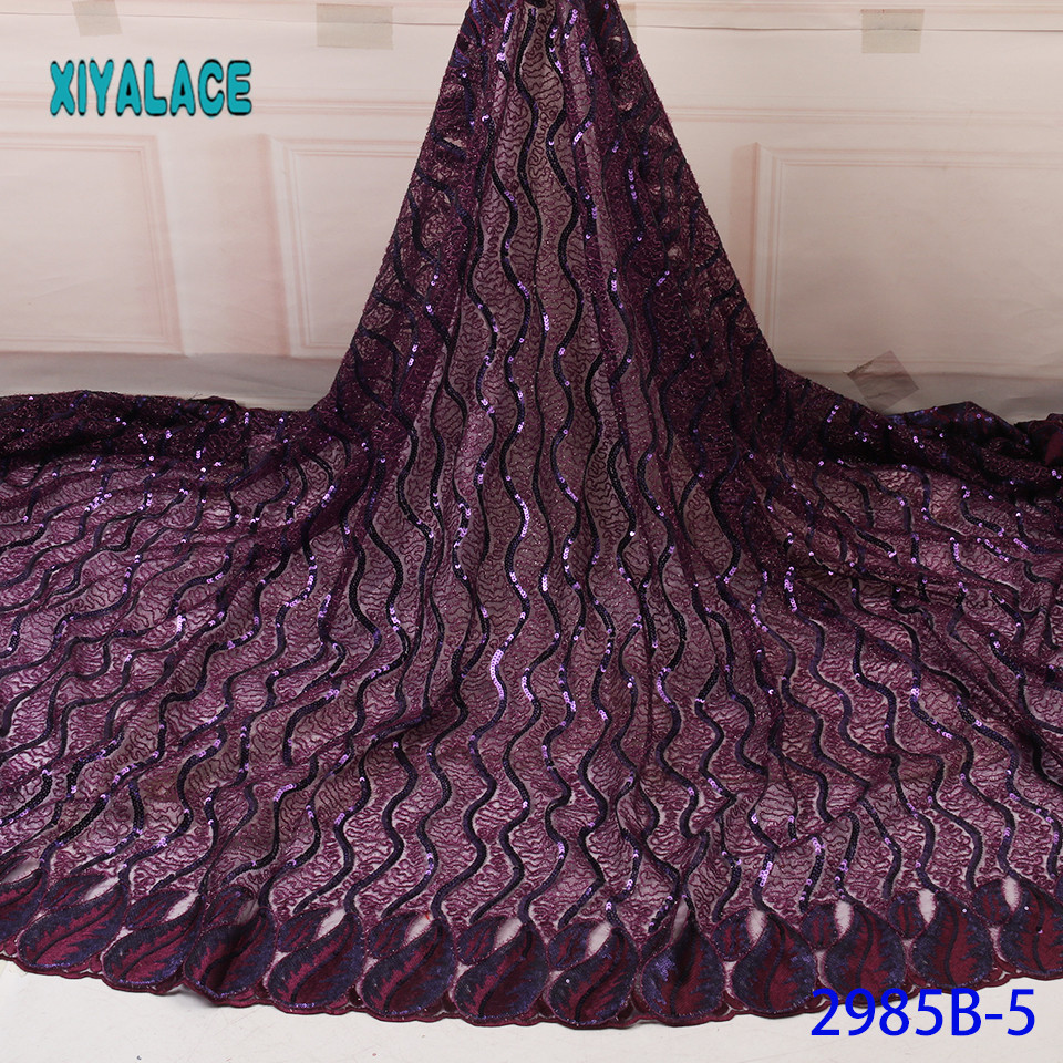 Nigerian Net Laces Fabric African Lace Fabric Sequins Lace Fabric Organza Bridal High Quality French Tulle YA2985B-5