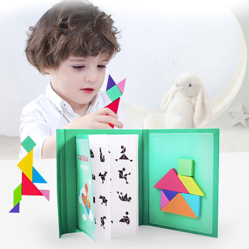Magnetic Tangram Puzzle Book Portable Preschool Baby Kids Toys Intelligence Jigsaw Puzzle Wooden Educational Toys for Children 3
