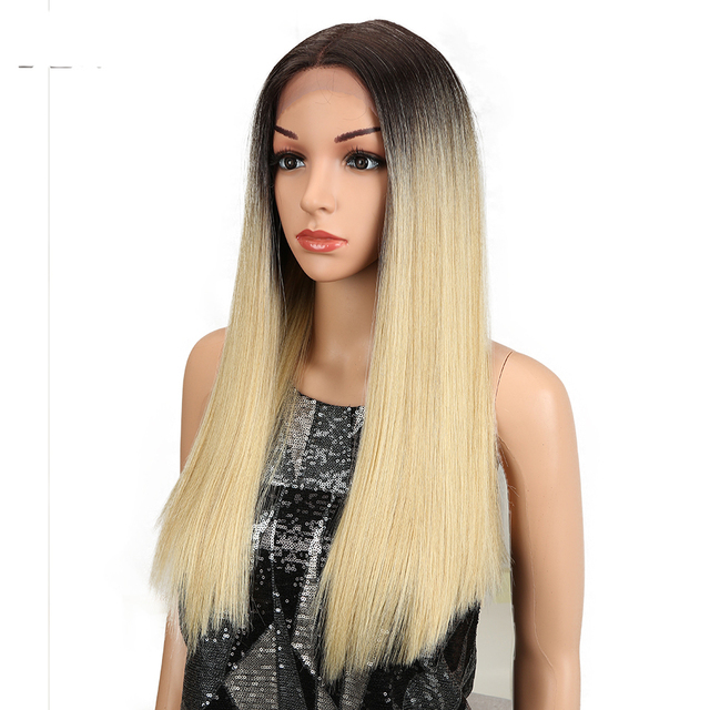 Magic Straight Lace Front Wigs For Black Women Middle Part Heat Resistant Hair Straight Black Blonde Synthetic Lace Front Wigs 1