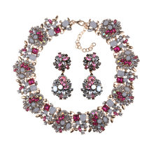 Luxury Crystal Rhinestone Necklace Earrings Jewelry Sets Women Large Collar Statement Choker Necklace Female Big Bib Necklaces(China)