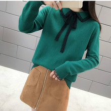 High quality sweater,2019 Spring New Style WOMEN'S Dress Lace Sweater, Bow Lace-up Peter Pan Collar Sweater Women's Base Shirt lace up slit asymmetric sweater
