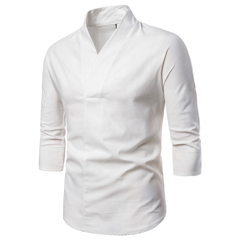 3/4 Sleeve Traditional Chinese Blouse Male Clothing Man Top Oriental V-Collar Shirt Linen Men Kimono Shirt Outfit Clothes XXXXL