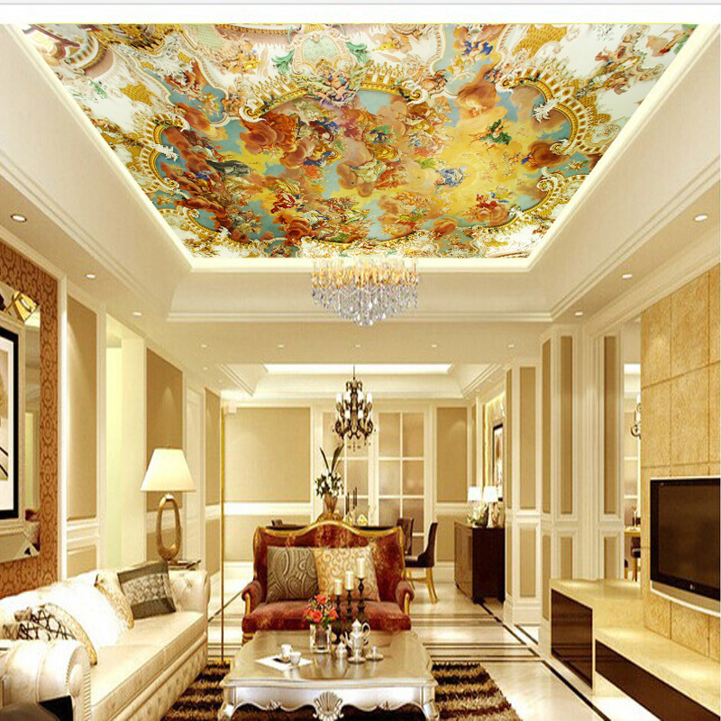 3D Large Mural Europe And America Angel Sky Zenith Ceiling Roof Decoration Wallpaper Hotel Lobby Wallpaper