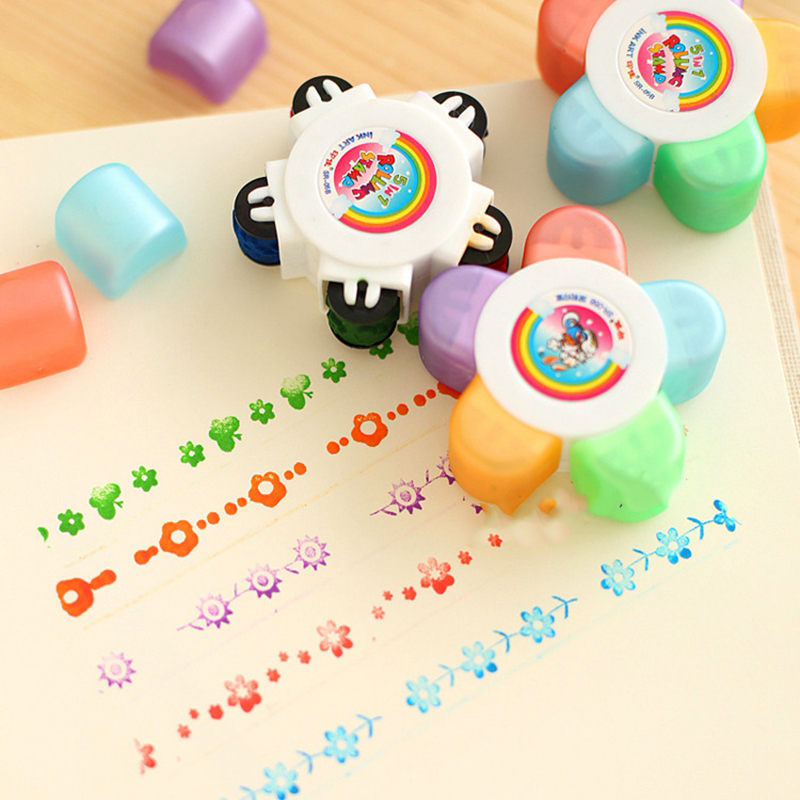 1 Pc Plum Flowers Stamp Toys Children Diy Handmade Scrapbook Photo Album Diary Decor Teacher Seal Stamp Kids Students Toys Gifts