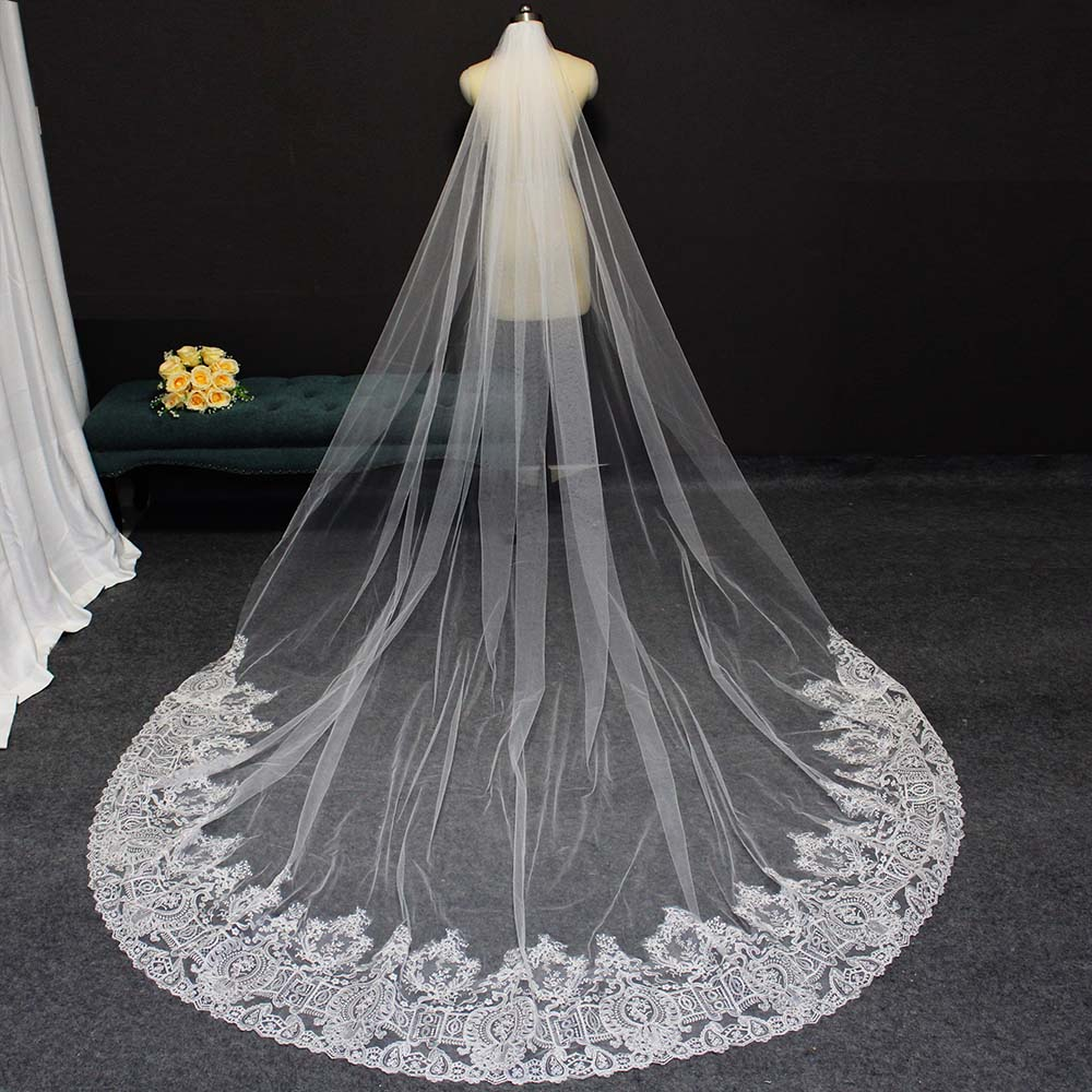 High Quality Partial Lace Long Bridal Veil 3M Cathedral Wedding Veil with Comb White Ivory Bride Veil Wedding Accessories 2020