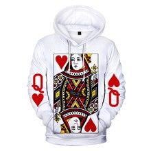 Personalidade poker 3d hoodies homem/mulher moda harajuku outono inverno topos impressão 3d poker hip hop hoodies oversized vestuário