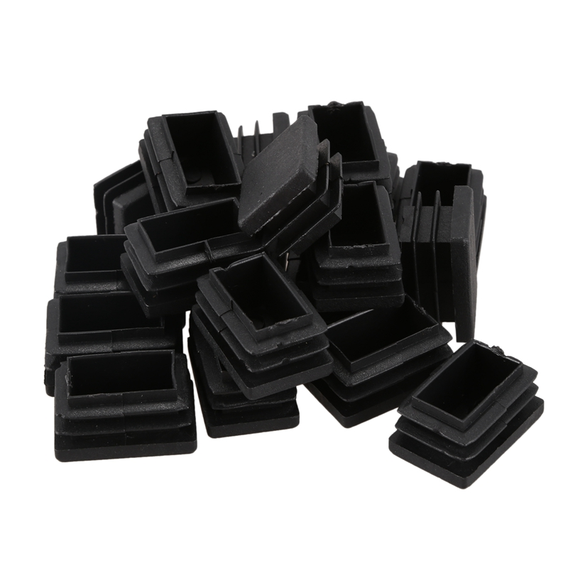 Professional20 Pcs Plastic Rectangular End Cap 30mm X 20mm Threaded Pipe Tube Insert Rubber Feet