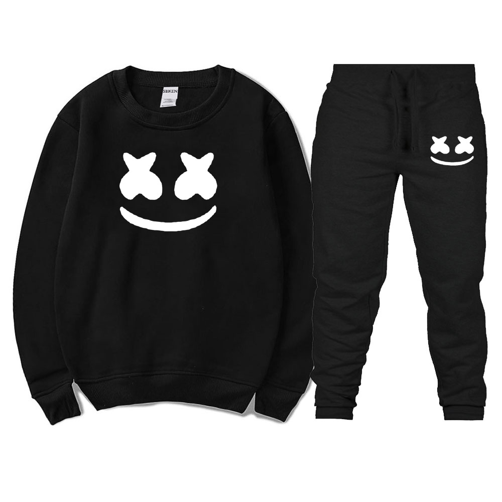Crew Neck Pullover Hoodie Suit Printed Fleece Men And Women-Couples Hoodie Sweatshirt Set
