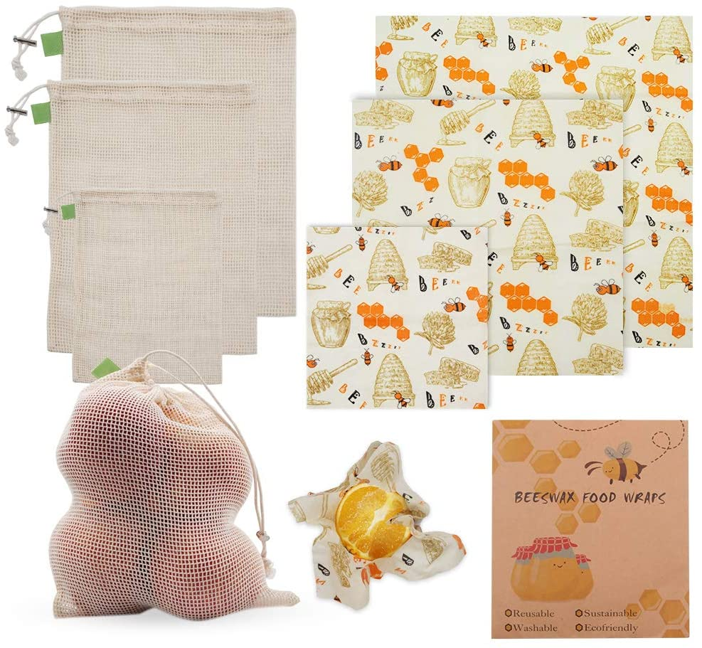 6 Pack Reusable Beeswax Wraps with Grocery Produce Bags/ Beeswax Wraps Roll for Kitchen Food Fruits Vegetables Sandwiches etc.