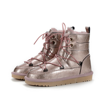 Snow-Boots Women's Genuine-Cowhide Waterproof Winter Lace-Up Wool Warm Best New-Style