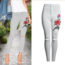 Jeans Trousers Embroidery Stretch Denim Pants Knee-Holes White High-Waist Women Skinny