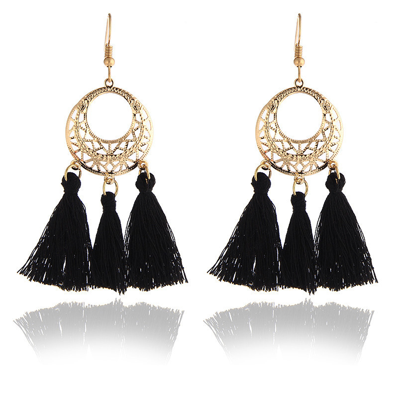 CARTER LISA 2019 New Hot Tassel Drop Earrings Black Vintage Tassel Earrings Long Earring Big Dangle Female Ear Jewelry Brincos