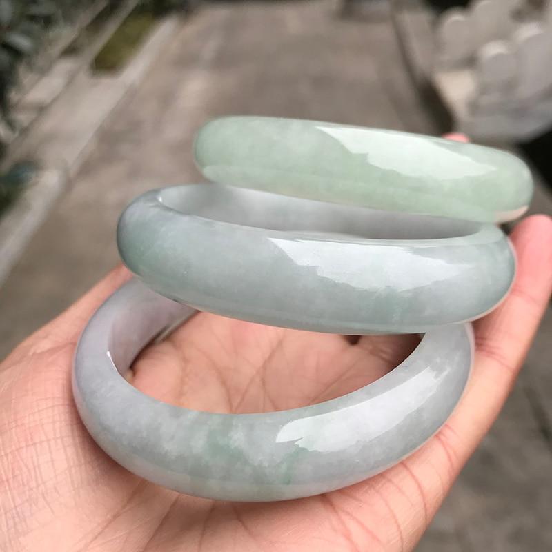 zheru jewelry natural Myanmar jade 54mm-64mm light green bracelet elegant princess bracelet best gift