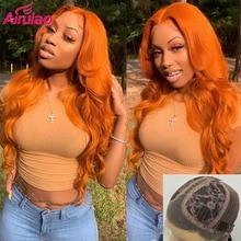 Onda suelta jengibre profundo HD transparente peluca frontal de encaje de color naranja pelucas de cabello humano para las mujeres negras 250% frente Preplucked Remy