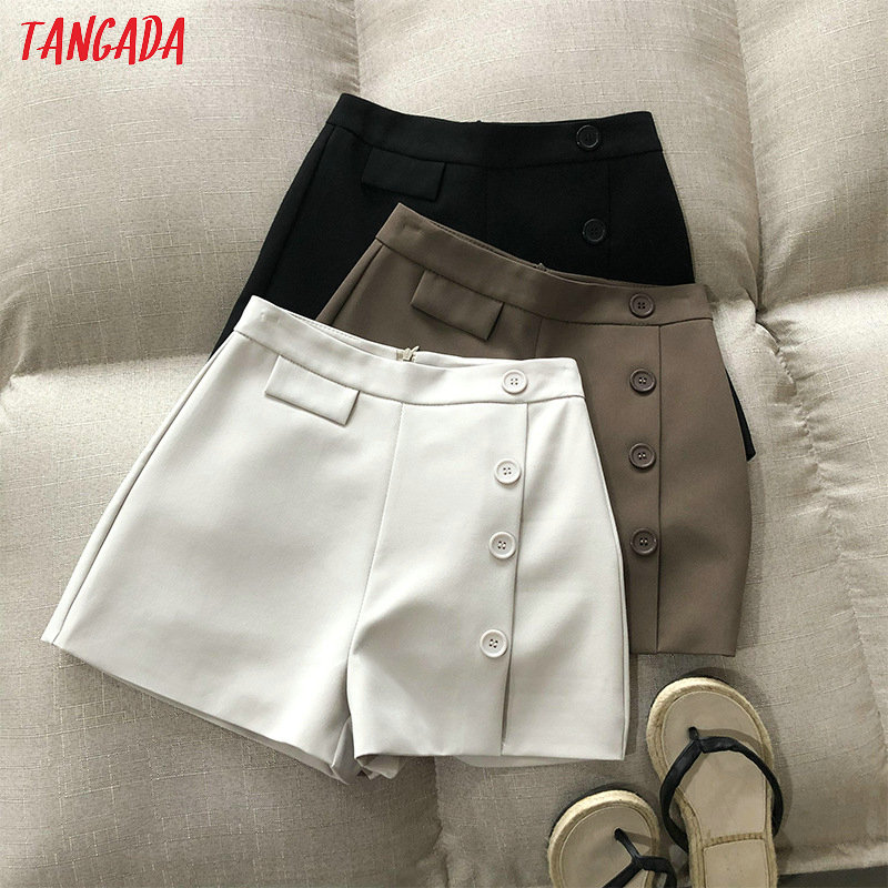 Tangada Women Elegant White Buttons Shorts Zipper Pockets Female Casual Shorts Pantalones High Quality ASF22