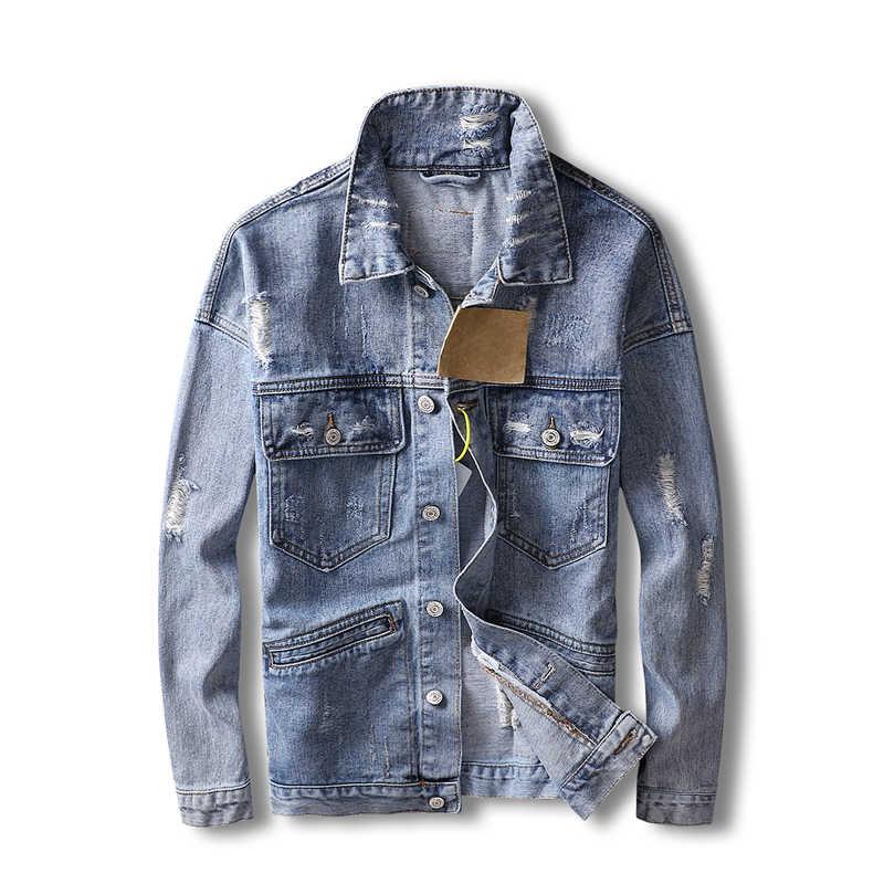 Americano Streetwear Uomini Giubbotti Retro Blu Multi Tasche Cargo Cappotti Stile Punk Strappato Giubbotti jeans Degli Uomini Hip Hop Giubbotti Hombre