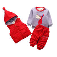 3pcs/Lot! Super Warm Winter Children's Clothes  baby boys girls suit fleece sweater + Hooded vest + pants Infant thickening suit