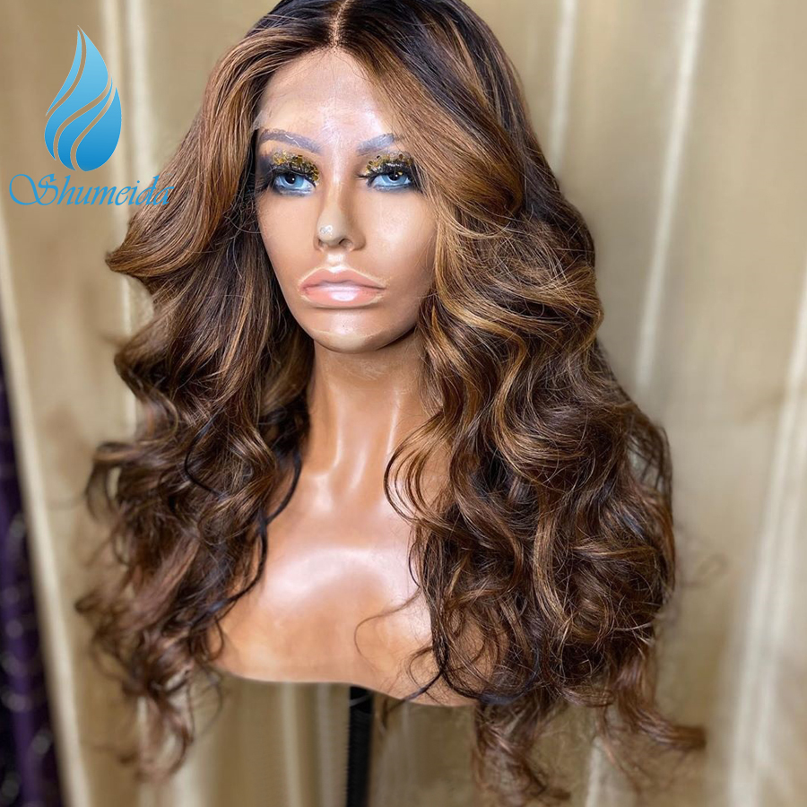 Highlight Color 13*6 Lace Front Human Hair Wigs 150% Density Peruvian Remy Hair Loose Wave Glueless Lace Wig With Baby Hair