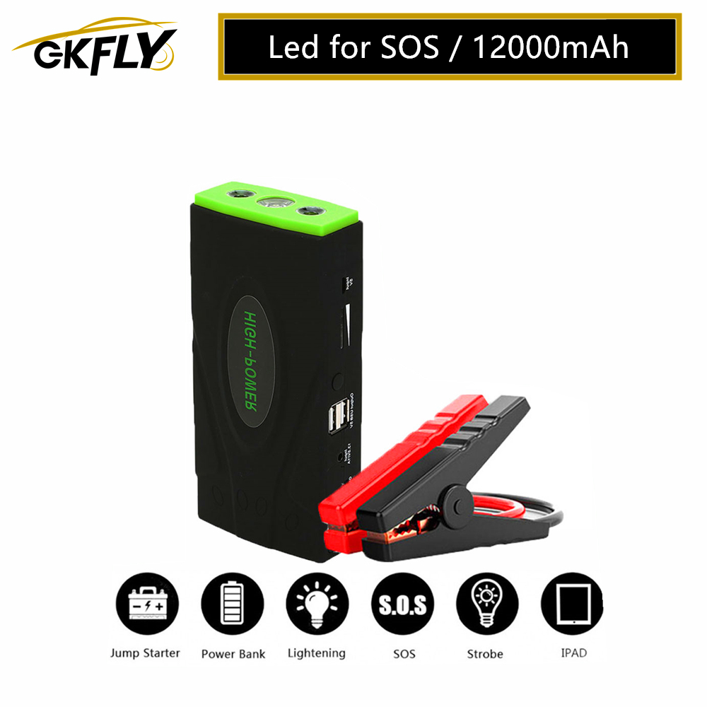 GKFLY High Power Emergency Car Jump Starter Multi-Function 12V Car Charger For Battery Booster Buster Starting  Cables Device