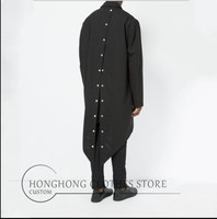 [custom] loose, medium and long style shirts with bright buttons and decorative large size shirts with thin trench coats