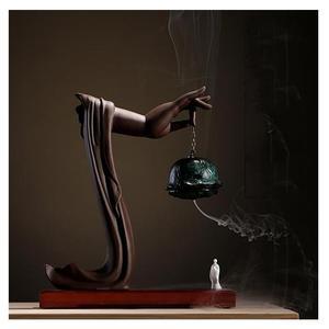 Image 1 - Yaratıcı geri akış tütsü brülör porselen buda el tütsü koni tutucu geri akış tütsü buhurdan budist el sanatları süsler