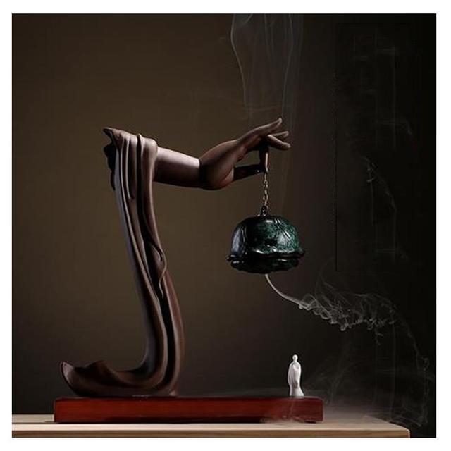 Yaratıcı geri akış tütsü brülör porselen buda el tütsü koni tutucu geri akış tütsü buhurdan budist el sanatları süsler