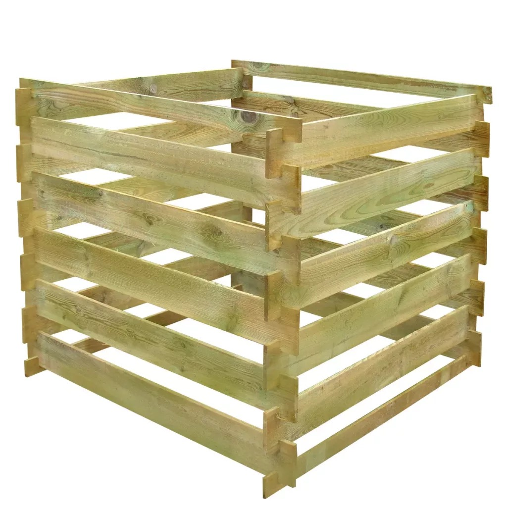 VidaXL FSC Wood Square Slatted Compost Bin 0.54 M3 Sturdy Durable And Rot-Resistant Material Wooden Composter