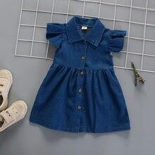 Iens-robe en jean pour bébés filles, vêtements en Denim, en coton doux, sans manches, pour enfants de 1 à 4 ans