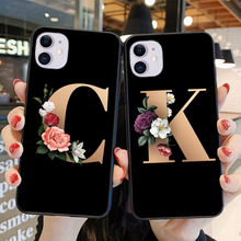 HPCHCJHM Custom Case For iPhone 11Pro Max Letter Flowers Black Soft TPU Case For Iphone 6 6S 7 8 Plus X Xr  Print Phone Cover leaf print iphone case