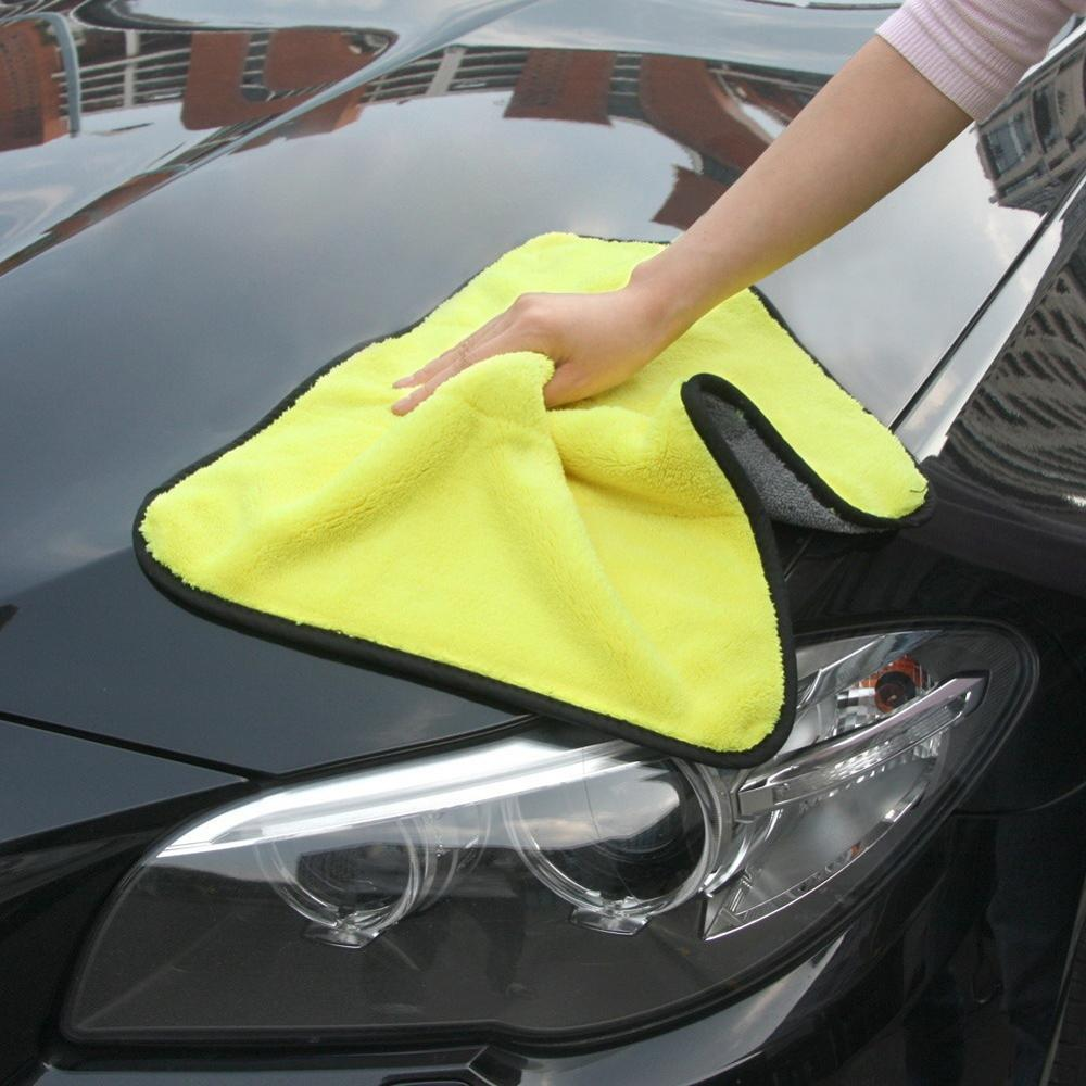 1pc Car Care Polishing Wash Towels Plush Microfiber Car Cleaning Drying Cloth Hemming Car Care Cloth Thick Fiber Car Wash Towel