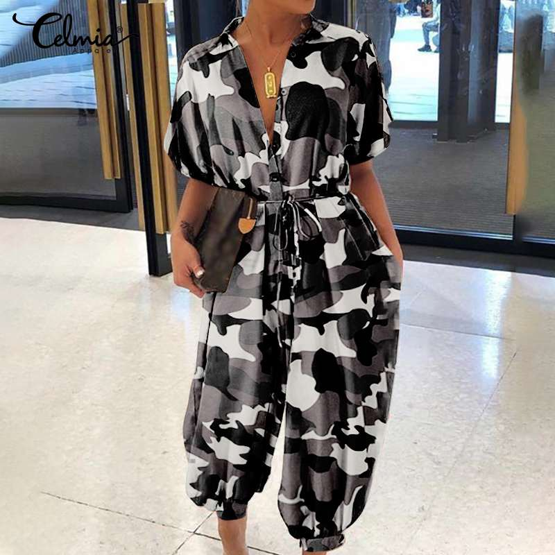 Plus Size Overalls Celmia Women Vintage Jumpsuits 2020 Summer Short Sleeve Camouflage Print Rompers Casual Cargo Pants Belted