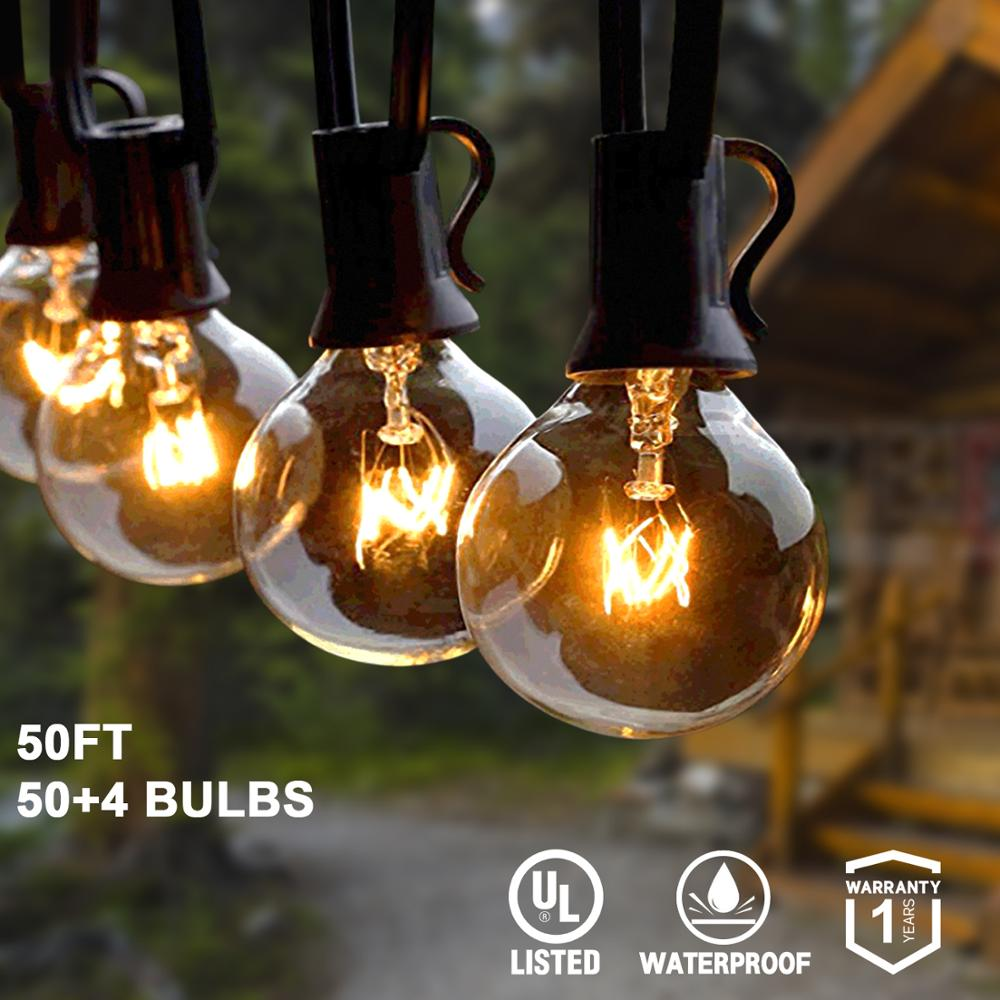 25Ft 30ft 50ft G40 String Lights with Globe Clear Bulbs  amp   Spare Bulbs Waterproof IP44 Patio Hanging Lights for Indoor  amp  Outdoor