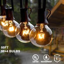 Tira de luces G40 de 25 pies y 30 pies y 50 pies con bombillas transparentes de globo y bombillas de repuesto a prueba de agua IP44 luces colgantes de Patio para interior y exterior