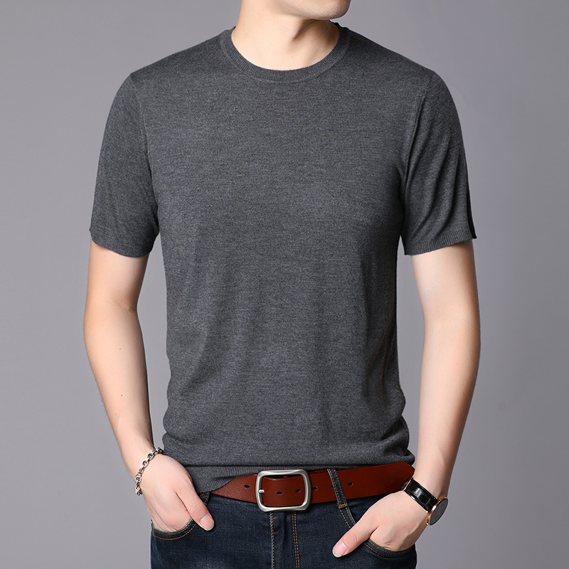 Men Wool  Shirt Sexy Male O-Neck Knit T Shirt Solid Short Sleeve Thin Sweater Jumpers