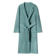 Fall 2019 Double-sided Wool Hand-sewn Cashmere Overcoat New Type Wool Overcoat Adjustable Waist  Full Long Coat Women