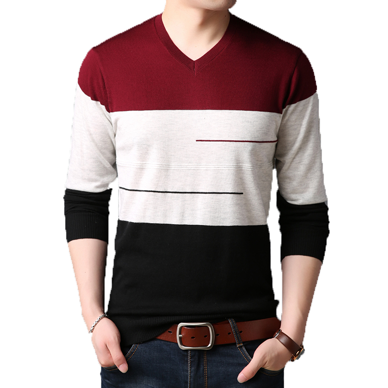 Men Sweaters Pullover Slim-Fit V-Neck Knitted Long-Sleeve Autumn Winter Casual Fashion
