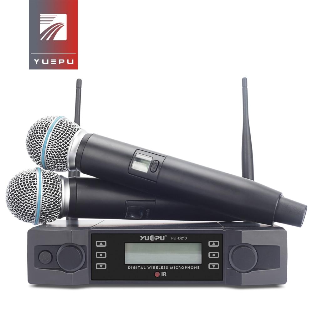 YUEPU RU-D210 UHF Professionale Microfono Senza Fili Sistema di 2 Channel Handheld Karaoke Frequenza Regolabile Cordless Per La Chiesa
