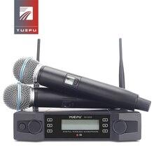 YUEPU système de Microphone sans fil professionnel, à motif UHF, 2 canaux, fréquence de karaoké, sans fil réglable pour léglise