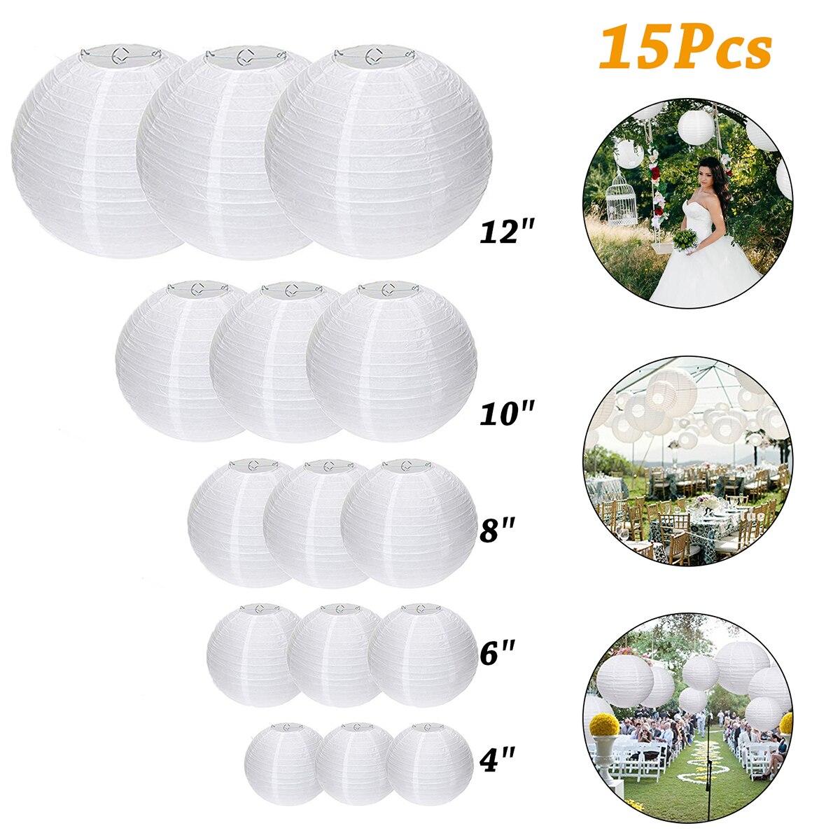 15pcs/Lot 4-12 Inch Mix Size Chinese Paper Ball Lampion Hanging White Wedding Decoration Paper Lanterns Lampshade Party Decor