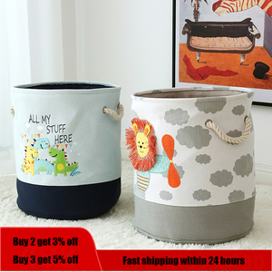 Foldable Storage Basket Cartoon Dinosa Kids Toys Canvas Storage Basket Dirty Clothes Laundry Container Barrel Home Organizer