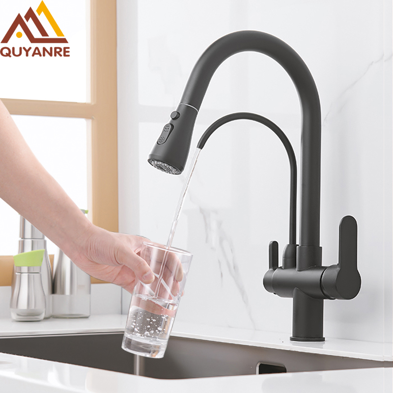 Quyanre Matte Black Filtered Crane For Kitchen Pull Out Spray 360 Rotation Water Filter Tap Three Quyanre Matte Black Filtered Crane For Kitchen Pull Out Spray 360 Rotation Water Filter Tap Three Ways Sink Mixer Kitchen Faucet